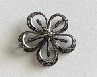 Stunning filigree sterling silver brooch by N A Jorgensen Norway
