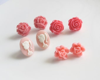 Floral Ear Posts. Pink Roses, Pink Silhouette Cabochon Earring Studs, Pink Flowers Ear Jewellery Accessories. Set of Four Pairs ear stud