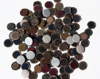100 PLUS  - 3/4 inch & 9/16 wool penny rug circles on fusible web - mixed