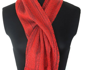 Red and Gray Handwoven Short Scarf, Soft Tencel Muffler, Woven-in Buttonhole Scarflette