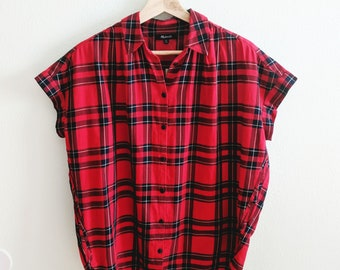 Red Plaid Short Sleeve Blouse, Boxy Button Up Shirt - S/M