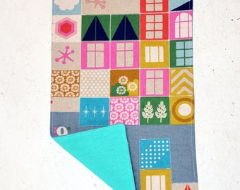 Quilted Playroom Large Burpcloth - Teal