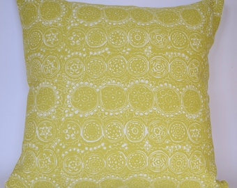 """20""""x20"""" Marimekko Pillow Cover. Handmade. Double-sided. Upholstery weight. Green/Solid Off White. (50x50cm)"""