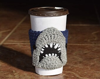 Shark Cup Cozy, Coffee Cozy, Cup Sleeve, Shark Lover Gift, Beverage Cozy,  Drink Cozy, Animal Cup Cozy, Crochet, Coffee Sleeve