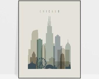Chicago art, Chicago skyline, print, Chicago wall art, Chicago poster, travel gift, city print, Illinois, home decor, ArtPrintsVicky