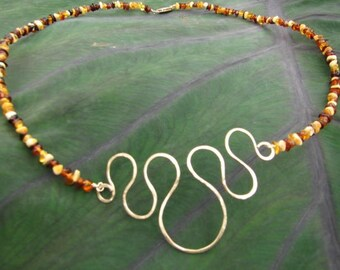 Amber and Gold Filled Wire Necklace
