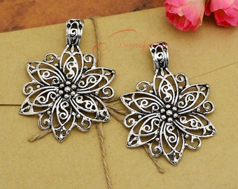 3PCS--64x52mm ,Flower Charms Antique Silver Tone Garden Charm pendants , DIY supplies,Jewelry Making
