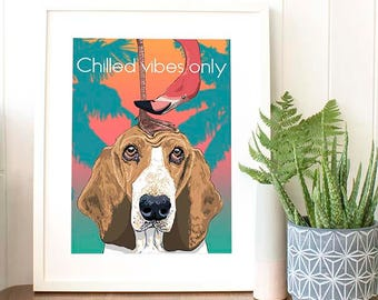 BASSET Hound Dog lover gift idea Funny pet gift for men Cubicle decor Flamingo decor pet illustration gift for women Animal room decor