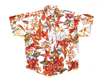 rayon floral blouse / button up short sleeve shirt M