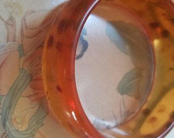 Vintage Bakelite Boho Bracelet Cuff Bangle Amber