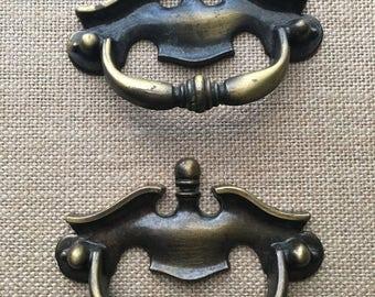 Set of two drawer handles furniture pulls vintage brass metal