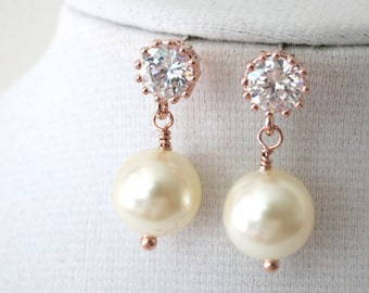 Round Cubic Zirconia Earrings, Crystal round, Swarovski pearl drop, Wedding Bridal, Bridesmaid earrings, Clear White weddings E176