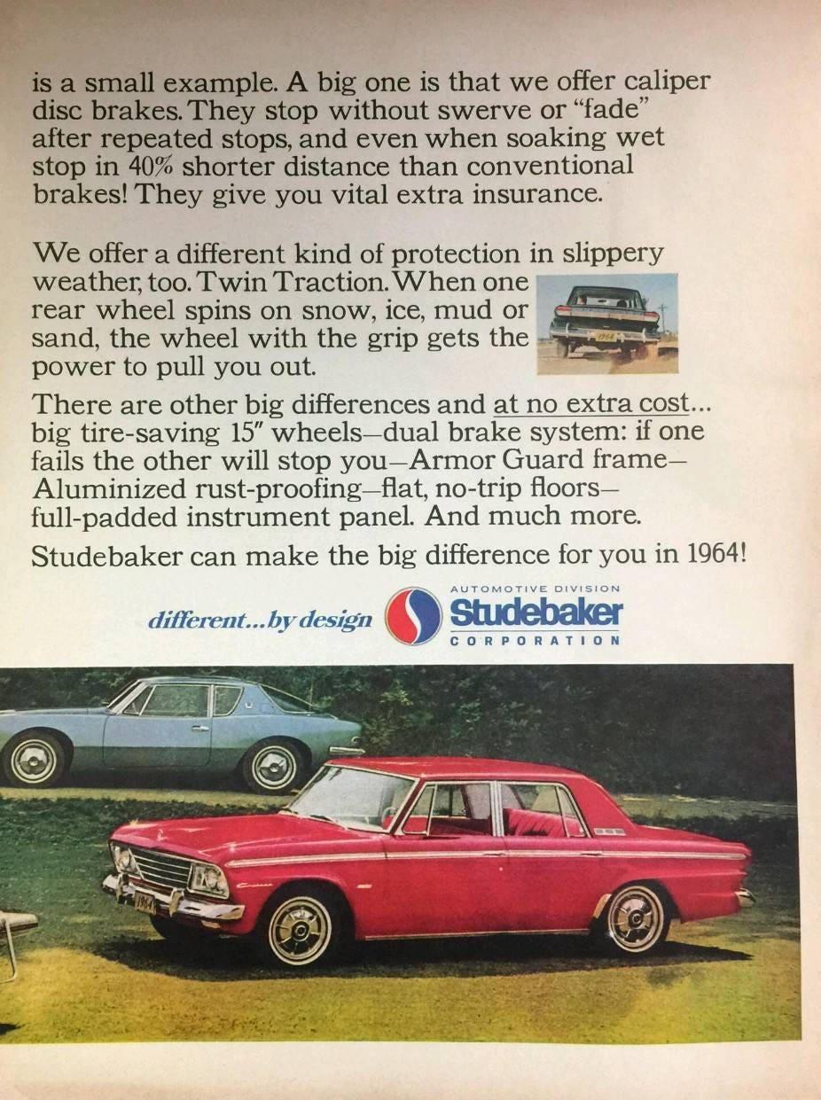 Vintage 1964 Studebaker Car Advertising // vintage Studebaker