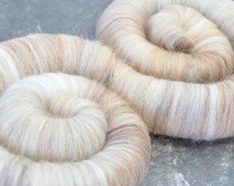 "Sweet Rolls - Rolags - Punis - Fiber hand blended for spinning - ""Shimmering Sands"" - Ready To Ship"