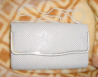 Vintage 80s White Glomesh Large Shoulder Purse Gold Trim As Is