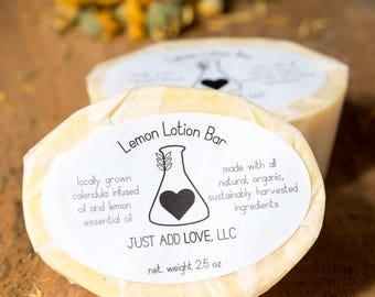 Solid Lotion Bar, Lotion Bar, Natural Lotion, Dry Skin, Mother's Day, Organic lotion, Natural Skincare, Herbal Skincare, Calendula, Lemon
