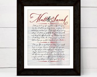 personalized 1 year anniversary gift for him husband men, wedding vow art print keepsake sign