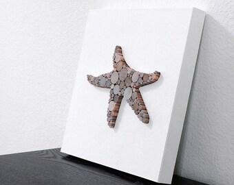 Wood Starfish Art, Modern Shabby Home Decor, Dimensional Wall Art, Beach Decor