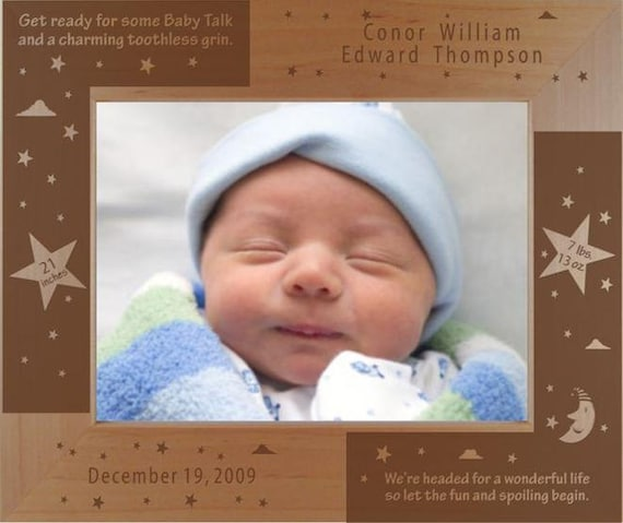 Personalized New Baby Photo Frame - Engraved Wood Baby Picture Frame ...