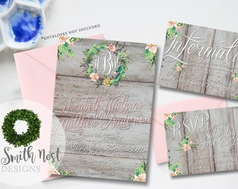 Southern Whimsy Wedding Invitation Suite DIY PRINTABLE Customizable Digital Print Rustic Wood Wedding