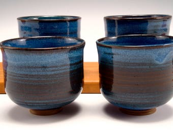 Blue cups -- Wine cups (set of four.)