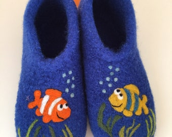 """Children felt House shoes """"Fish"""""""