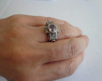 Vintage 925 Sterling Marcasite and Amethyst Ring, Woman's Art Deco, Size 7.5, Gemstone and Silver Ring
