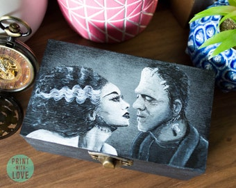 Bride and Frankenstein's Monster Proposal Wedding Ring Hand Painted Jewelry Trinket Stash Goth Halloween Horror Box FREE US Shipping