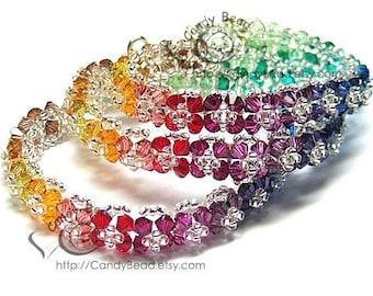 Rainbow bracelet; crystal bracelet; Swarovski bracelet; Glass bracelet;Deep Color Florals Crystal - Sold individually