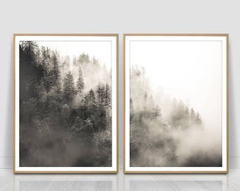 Misty Forest Photography, Forest Print, Scandinavian Print, Foggy Forest, Minimalist set of two, Nature Wilderness,Instant Download,