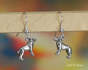 German Shepherd Spitz or Husky Earrings Sterling Silver Pierced .925