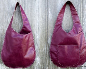 Leather Bag in Distressed Magenta, Plum, Purple, Handmade, Bonnie Cashin Inspired, Minimalist Style, Modern Chic,  Sling Bag by Stacy Leigh