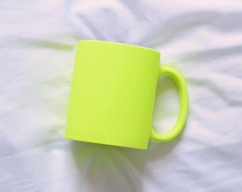 Neon Yellow Matte Mug, Blank Sublimation Mug. Matte Yellow Mug, great for crafting! Yellow Mug, Bright Yellow Mug, 3 Neon colors available!
