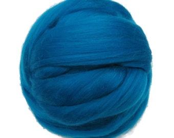 Merino Silk Roving Cobalt- Vibrant Color Mulberry Wool Silk Blend Fiber for Spinning & Felting