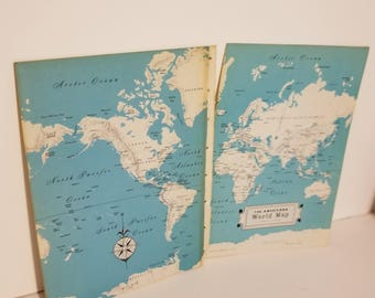 Vintage map end papers encyclopedia book pages paper art supplies scrap ephemera 1x