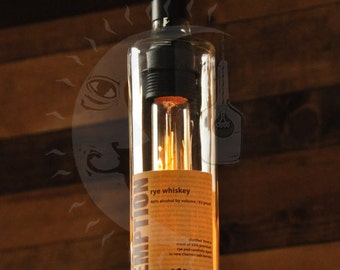 Redemption Rye Whiskey Lamp, Hanging Bottle Lamp