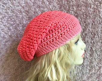 Peach Gradient Slouchy Crochet Hat