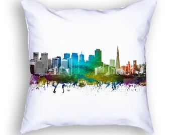 San Francisco Pillow, 18x18, San Francisco Skyline, San Francisco Cushion, San Francisco Pillow, Throw Pillow, Gift Idea, Pillow Case 01