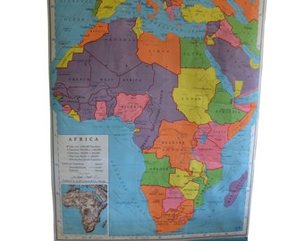Schoolroom Geography Map of Africa, 1957 Edition