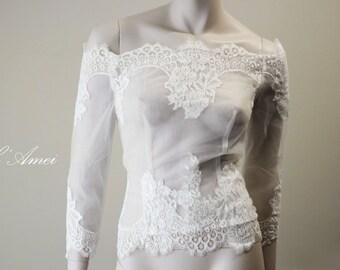 Ivory Off-Shoulder Soft Lace Wedding Bridal Blouse Bolero Jacket Shrug