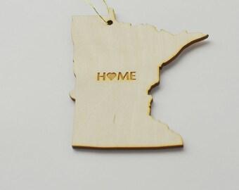 Natural Wood HOME Minnesota State Ornament