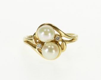 14k Two Pearl Diamond Accented Wavy Freeform Ring Gold