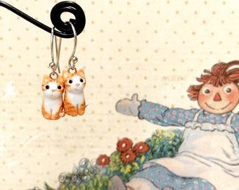Tiny Orange Cat Earrings, Dangle & Drop Earrings, polymer clay cat, cat sculpture, miniature cat, cat lover gifts