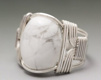 White Howlite Gemstone Cabochon Sterling Silver Wire Wrapped Ring - Made to Order and Ships Fast!
