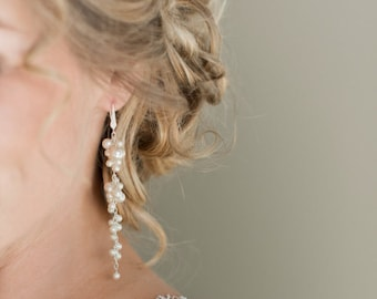 Long Pearl Bridal Earrings, Wedding Earrings, Ivory Pearl Cluster Earrings, Wedding Jewelry
