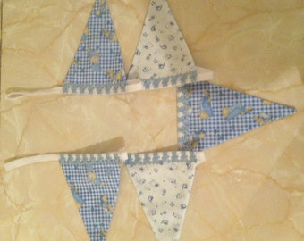 Baby boy fabric bunting 5 flags