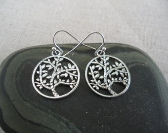 Silver Tree Earrings - Tree Leaf Earrings - Tree of Life - Simple Everyday Silver Earrings