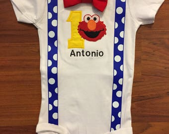 Elmo inspired first birthday baby boy outfit, baby boy 1st Birthday Party