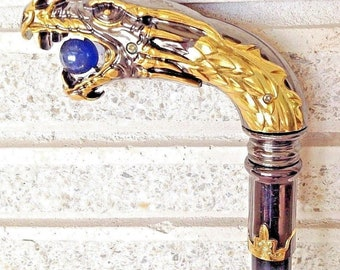 Gothic Brass Nickel Medieval Chinese Dragon Head Cane Walking Stick with Crystal Ball
