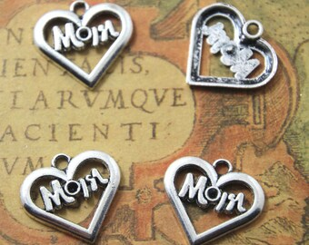 20pcs Mom Charms silver tone Mom heart Charms pendants  21x20mm ASD1224